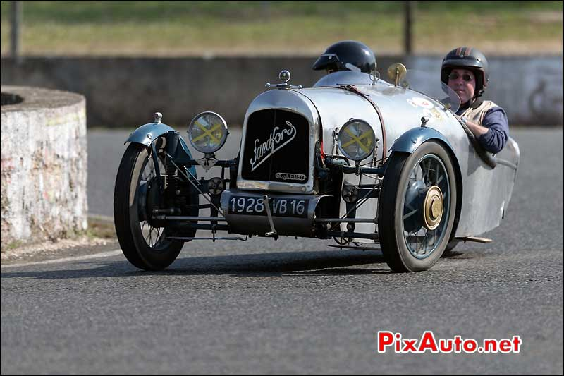 Tricycle Sandford GS au deux ponts, circuit Linas-Montlhery