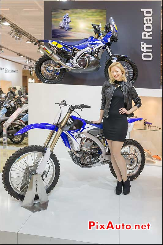 Off-Road, Yamaha YZ450F et hotesse, Salon-de-la-moto Paris 2013