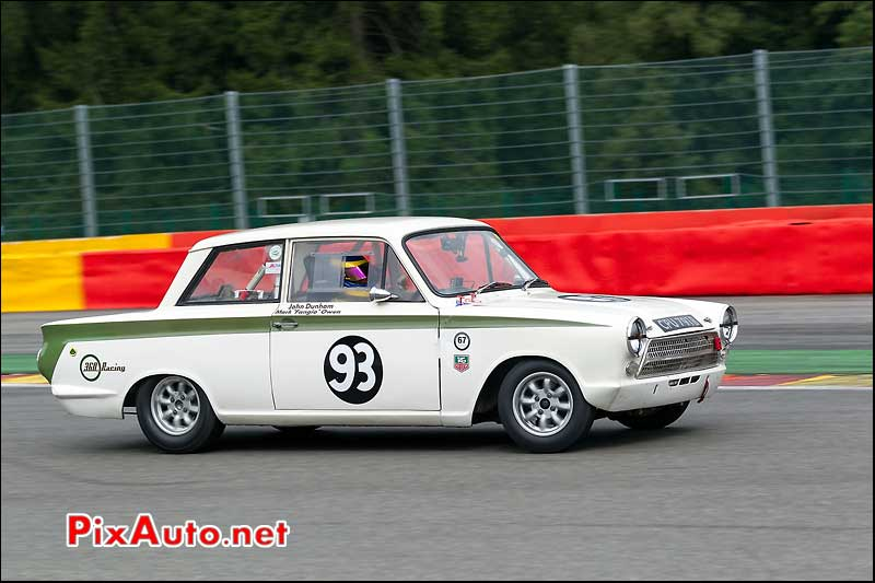 Ford Lotus Cortina numero93, U2TC Spa-Francorchamps