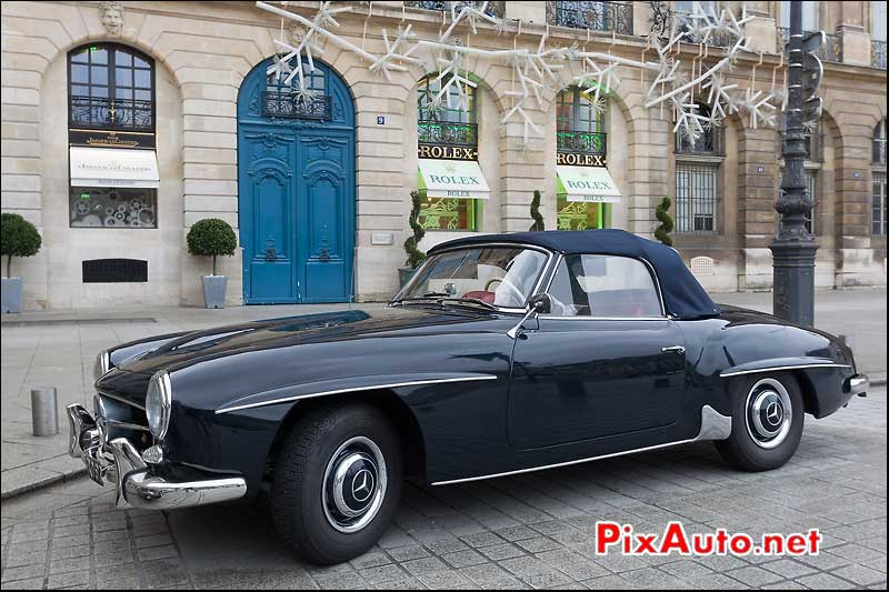 mercedes-benz 190sl cabriolet, place vendome, traversee de paris