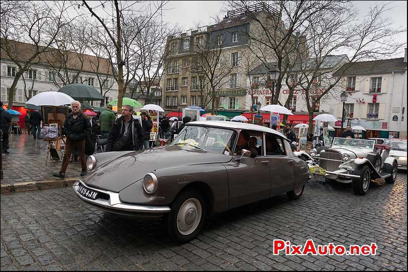 citroen ds, place du terte, traversee de paris
