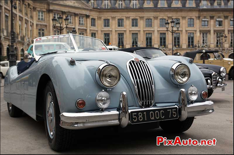 roadster jaguar xk, traversee de paris